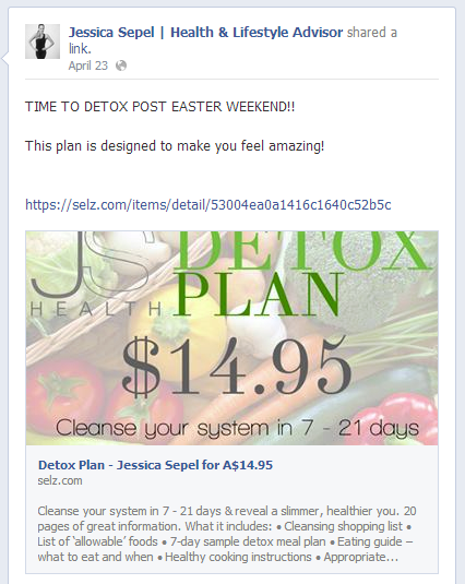 Selling on Facebook Example Post