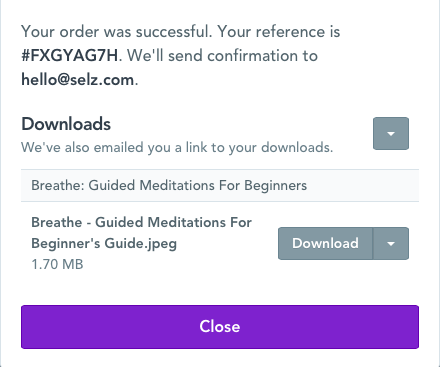 Post-purchase download screen