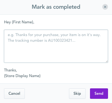 Mark as completed message