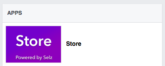 Screenshot of Facebook page Selz store