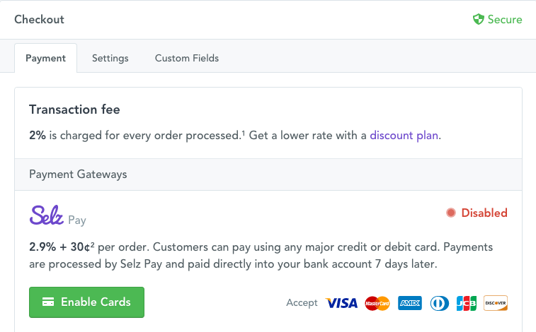 Image of the Selz Pay screen in Settings > Checkout