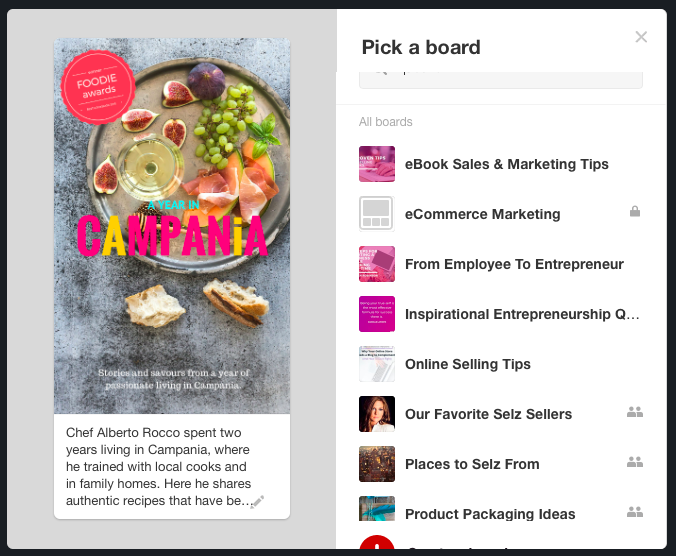 Add your product to your Pinterest account