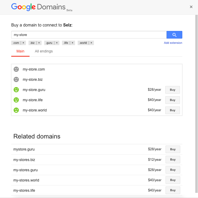 Screenshot of the Google Domains search area