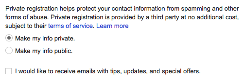 Screenshot of Google Domains Privacy settings