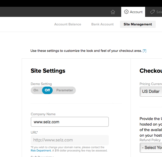 Screenshot of 2Checkout's Site Settings page