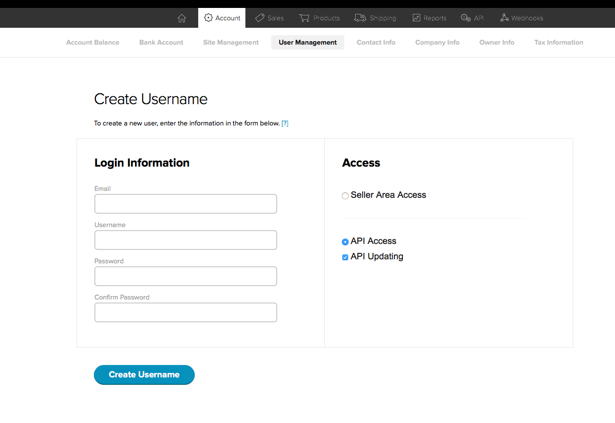 screenshot of the Create Username page