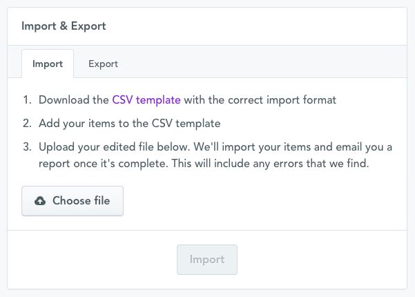 Screenshot of the Import & Export page in Selz